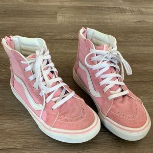 Baby pink vans high tops in suede and canvas.